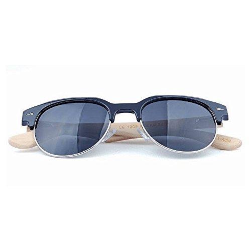 bambú Uso UV Libre Semi Gububi Diario polarizadas Montura Hombre Sol Aire Adecuado semirreflejo para múltiples sin Color Fines De de para y Espejo Negro Mujer Lente Negro Gafas protección de al xBw0qHpBv