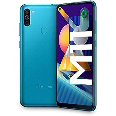 SAMSUNG-Galaxy-M11-Smartphone-Dual-SIM-Pantalla-de-64-Camara-13-MP-3-GB-RAM-32-GB-ROM-Ampliables-Bateria-5000-mAh-Android-Color-Azul-metalico-Version-espanola