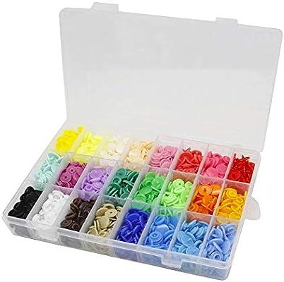 Bestgle 24 Colores de 360 Piezas de Plástico Snaps Botones Redondos Plasticos Multicolor,Organizador de Cajas de Almacenamiento para Costura y Manualidades: Amazon.es: Hogar