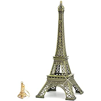 City-Souvenirs (12 inch) Eiffel Tower Statue, Metal Figurine and Center Piece for Home Decor. (Includes Gold Eiffel Tower Key Chain)