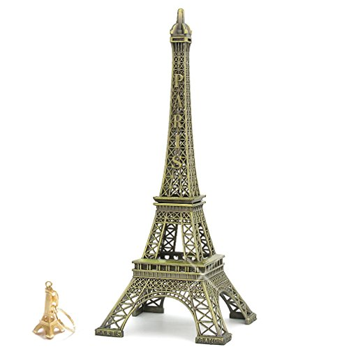 12 Inch (30cm) Metal Eiffel Tower Statue Figurine Replica Centerpiece Room Table Décor Jewelry Stand Holder French Souvenir (Includes Eiffel Tower Key Ring)