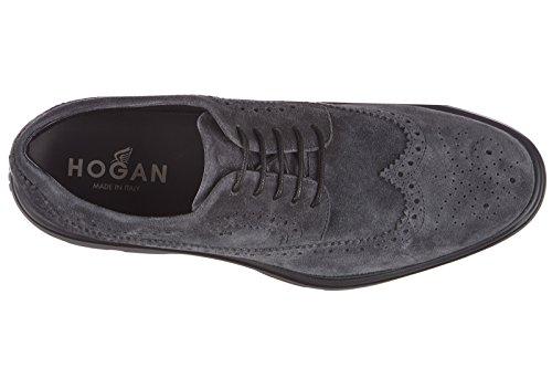 Hogan scarpe stringate classiche uomo in camoscio h304 route derby bucature blu