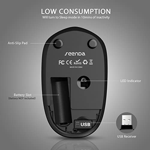 seenda Wireless Mouse with Nano USB Receiver Noiseless 24G Wireless Mouse Portable Optical Mice