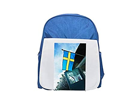 Bandera sueca, mochila azul infantil estampada de Suecia, mochilas lindas, mochilas pequeñas bonitas