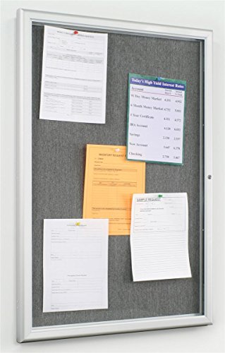 Displays2go Tack Bulletin Board with a Locking Satin Aluminum Frame, 24 x 36 Inches Enclosed Grey Fabric Display, Polystyrene Lens (FBTW2436) by Displays2go
