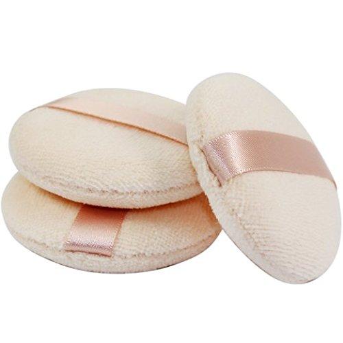 KOLIGHTSet of 3pcs Pro Dry Makeup Soft Face Powder Puff Ribbons Flutter Hook