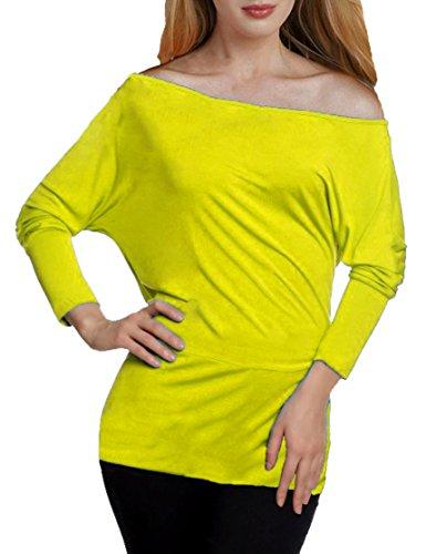 Mujer Mujeres manga larga Murciélago longtop–Hombro Libre Tops–Batwing Top–Off Shoulder–Basic manga–Base Blusa amarillo