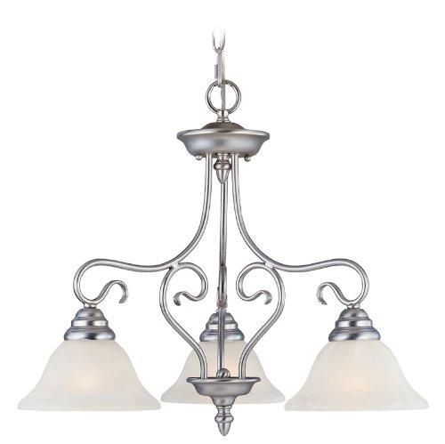 - Livex Lighting 6133-91 Coronado 3 Light Brushed Nickel Hanging Lantern / Flush Mount Chandelier with White Alabaster Glass