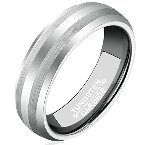 6mm Silver White Tungsten Ring for Men Polished Plain Comfort Fit Wedding Engagement Band
