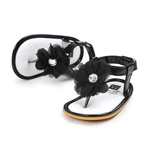 Zapatos de bebé, Switchali Niña Perla zapatos antideslizante suela blanda flor zapatillas prewalker Princesa zapatos Chicas moda Sandalias Primeros caminantes NiñoZapatos Negro