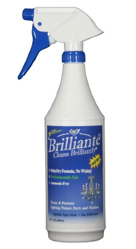 Brilliante Crystal Chandelier Cleaner Manual Sprayer 32oz Environmentally Safe, Ammonia-free, Drip-dry Formula, Made in USA (1) by Brilliante Crystal Cleaner