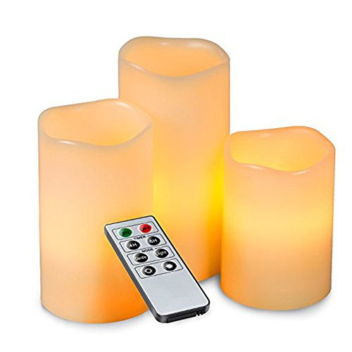 Beanpod Votive Candle - Maphissus Flameless Candles Dripless Real Pillar LED Battery Operated Unscented Ivory Wax and Amber Yellow Flame 10- Key Remote 3pack (Yellow)