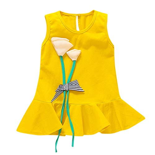 AutumnFall 3-24M Children Dresses Baby Girl Sleeveless Flower Print Cotton Floral Dress Toddler Spring Summer Dresses for Girls (Age:3-6 Months, Yellow)]()