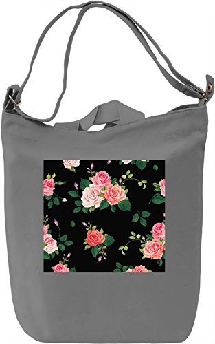 Roses Pattern Borsa Giornaliera Canvas Canvas Day Bag| 100% Premium Cotton Canvas| DTG Printing|