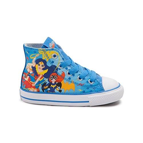 Converse Youth Chuck Taylor All Star Hi Superhero Girls Sneaker Italy Blue/White/Red 359167F (8 Infant M) -