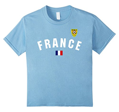Kids France Flag World Class Soccer Jersey Graphic T-Shirt 8 Baby Blue (8 Shirt Jersey Soccer)