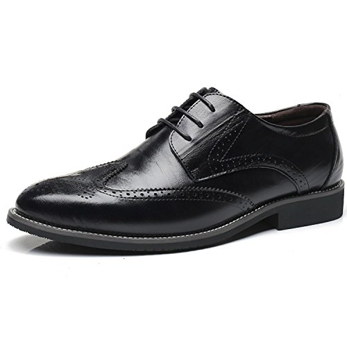 Mens Oxford Shoes Dress Leather Wingtip Formal Office Tuxedo Shoes (US 10, - Wingtip Black