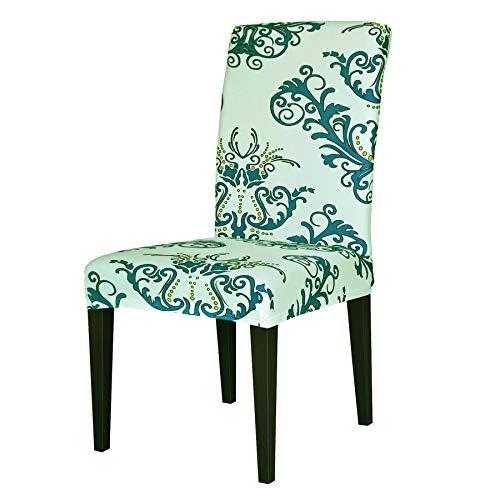 TIKAMI 6PCS Spandex Printed Fit Stretch Dinning Room Chair Slipcovers (6, Green)
