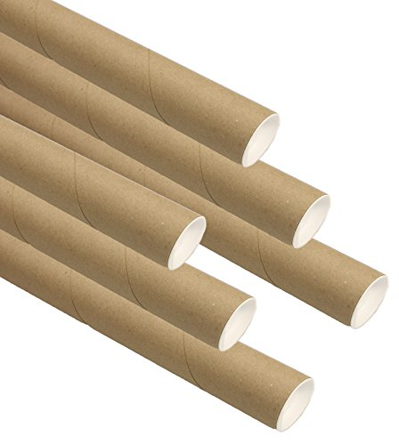 Kraft Mailing Tubes with End Caps, 2 inch x 24 inch, Pack of 6 by Slap-Art