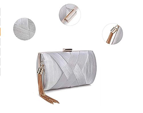 Purse Party Pendant Silk Slive Elegant Clutch Evening Wedding Bridal Bags Women's Tassel vSXHq