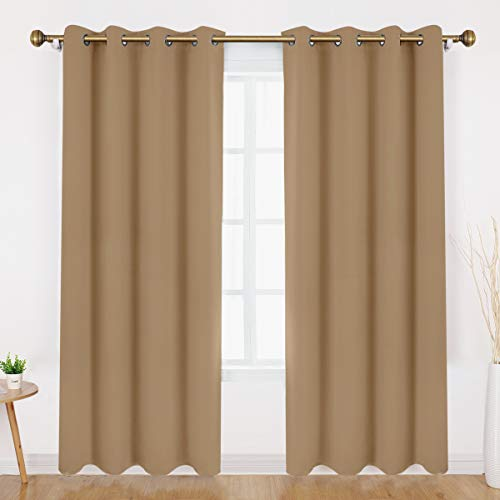 HOMEIDEAS Blackout Curtains - Room Darkening Window Curtains/Drapes, Thermal Insulated Solid Grommet Window Treatment Panels for Bedroom & Living Room (52 x 95 Inches, Cappuccino, 2 Panels)
