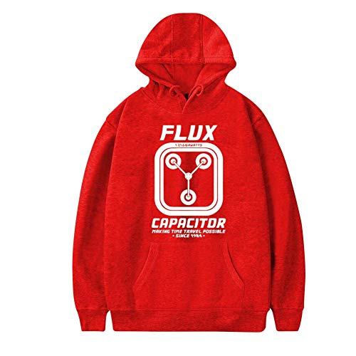 Aharyoa Mens Hoodies,Funny Flux Capacitor Time Travel Fashion Printed Plush Pocket Sweater,Soft and Warm 3XL Red ()