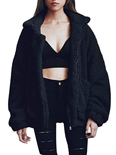 SHIBEVER Fluffy Women Coats Faux Wool Blend Warm Winter Jacket Zip Up Long Sleeve Oversized Fashion Outerwear Black S