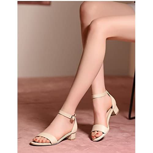 b5d04ae5 ZCJB Sandalias De Verano Talones Gruesos Femeninos Tacones Altos Palabra  Hebilla Zapatos De Tacón Medio (