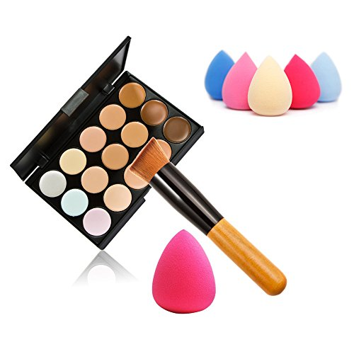 Nice AMarkUp 15 Colors Concealer Makeup Cream Care Camouflage Contour Palette + Sponge Puff + Oblique Head Foundation Brush (Type1+Brush Puff) for sale