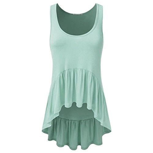 (Sunhusing Womens Solid Color Irregular Pleated Ruffled Hem Loose Sleeveless Round Neck Vest Tank Tops Green)