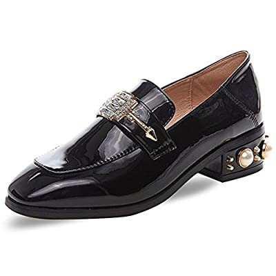Hoxekle Womens Korean Version Low Top Mid Heels Square Toe PU Insole Rubber Sole Slip On Loafer Shoes