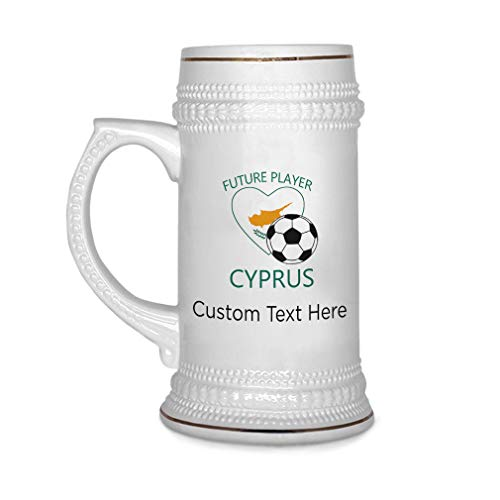 Custom Beer Mug Future Soccer Player Cyprus Ceramic Drinking Glasses Beer Gifts White 18 OZ Personalized Text Here