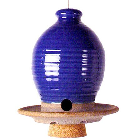 Beehive Bird Seed Feeder: American Made Frost-resistant Stoneware Pottery, Royal (Royal Bird Feeder)