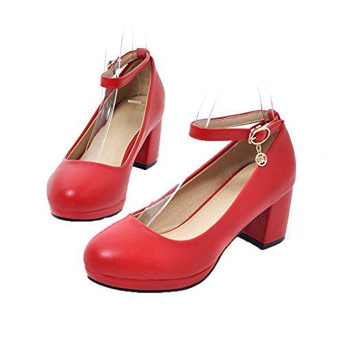 Ballet AgooLar Punta Tonda Tirare Donna Flats Tacco Rosso Puro Medio Luccichio Y8rOYq