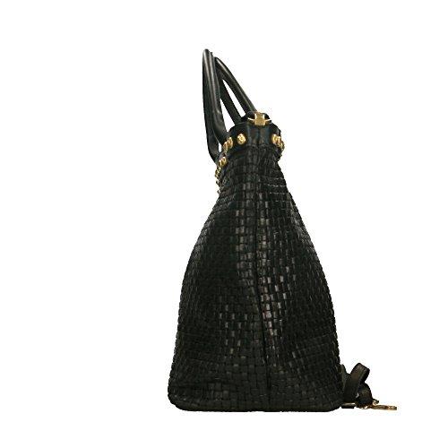 in véritable Made main Italy Noir avec bandoulière imprimé en cuir tressé en Chicca Sac cuir 53x34x20 à Borse Cm qxwpvg7PnC