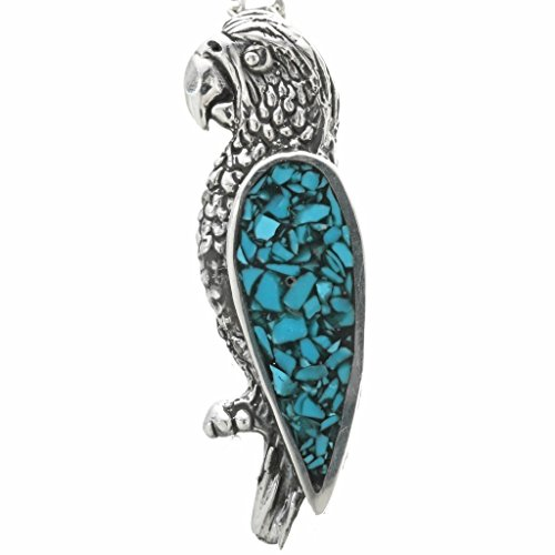 - Turquoise Silver Pueblo Parrot Pendant With Chain Navajo Inlaid Sterling 1450