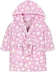 Babies Heart or Star Print Soft Plush Fleece Robe
