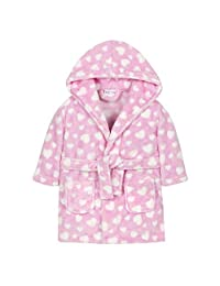 Babies Heart or Star Print Soft Plush Fleece Robe