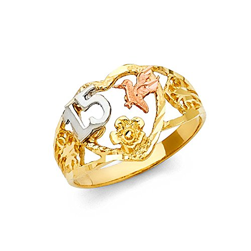 Solid 14k Yellow White Rose Gold Quinceanera 15 Heart & Dove Ring Quince Band Fancy 11MM, Size 8.5