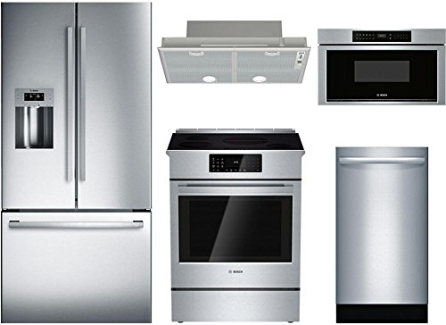 "Bosch 5-Piece Stainless Steel Kitchen Package with B26FT50SNS 36"" French Door Refrigerator, HII8055U 30"" Slide-In Electric Range, DHL755BUC 30"" Hood Insert, SGX68U55UC 18"" Full Console Dishwasher, and"