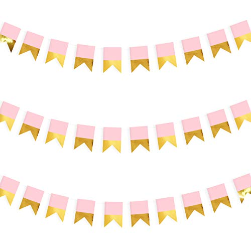39.4ft Gold and Pink Banner Party Decorations Gold Fishtail Paper Bunting Banners Hanging Flags Streamers for Baby Shower Nursery Décor Birthday Engagment Party Kids Home Girls Room Wall Décor