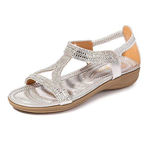 Ruiatoo Women's Flat Sandals Hollow Triangle with Rhinestone Comfortable Summer Shoes for Ladies Dress Sliver 38