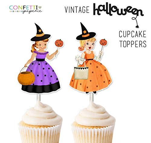 Vintage Halloween Party Toppers, Cupcake, Party Decor, Cupcake Toppers, Halloween Party, Vintage Party Decor, Vintage Girls Toppers ()