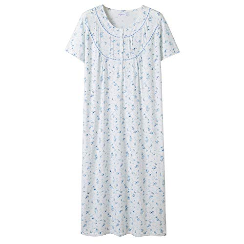 Keyocean Women's Nightgowns 100% Cotton Lace Trim Short Sleeve Solid Long Sleepwear for Women (M, Blue Floral)