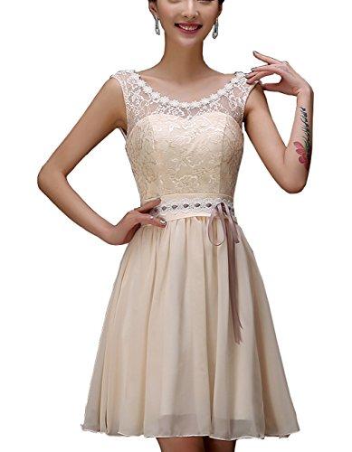 mit Abiball Damen Trägern Kleid Champagne Mini Bright Kleid Great DL0038E 2 Festkleid wXqT05n7