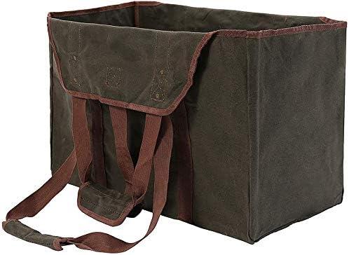 bolsa de transporte de madera resistente para chimeneas y estufas de le/ña lona encerada soporte para interior con asas y correa para el hombro Portador de le/ña impermeable extragrande