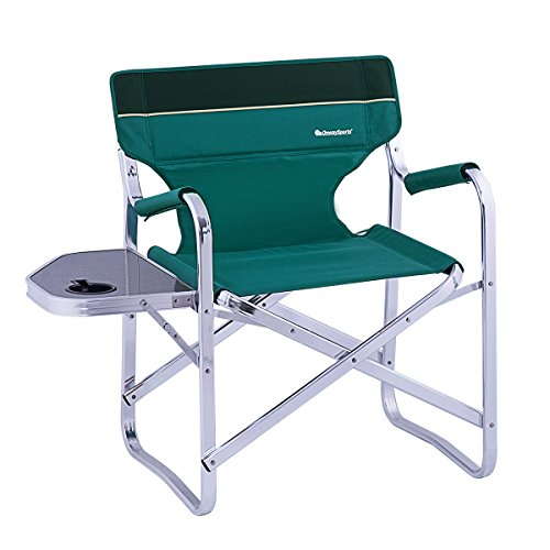 OnwaySports Aluminum Frame Director Chair with Side Table Lightweight Foldable Portable for Camping in Green