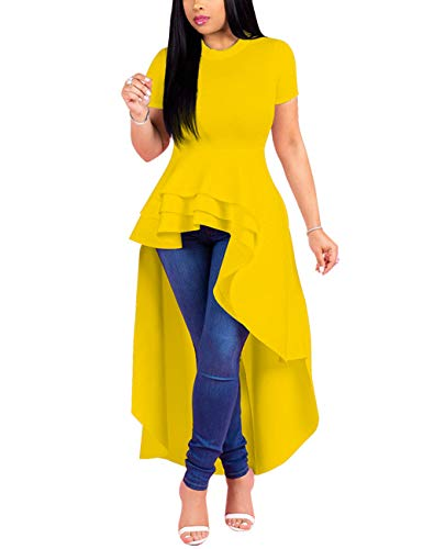 Lrady Women Ruffle High Low Asymmetrical Short Sleeve Peplum Tops Blouse Shirt Dress Yellow M ()