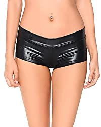 iHeartRaves Metallic Rave Booty Dance Shorts (Small, Fuchsial)