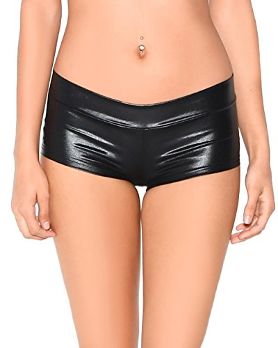 Vinyl Hot Pants - iHeartRaves Black Metallic Low-Rise Booty Shorts (Small)